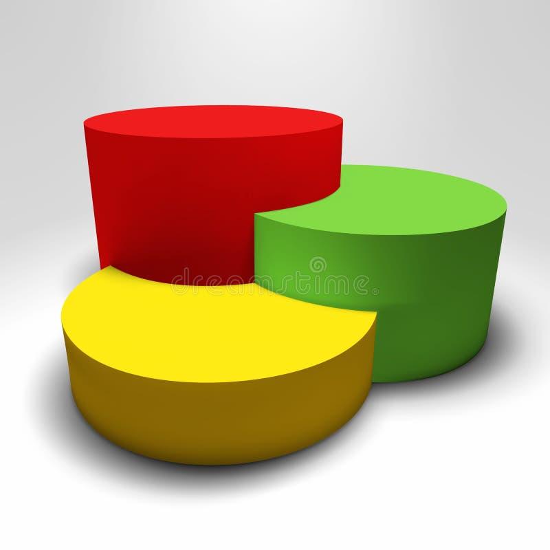 Piédestal du vecteur 3D d'Infographic avec les colonnes colorées illustration stock