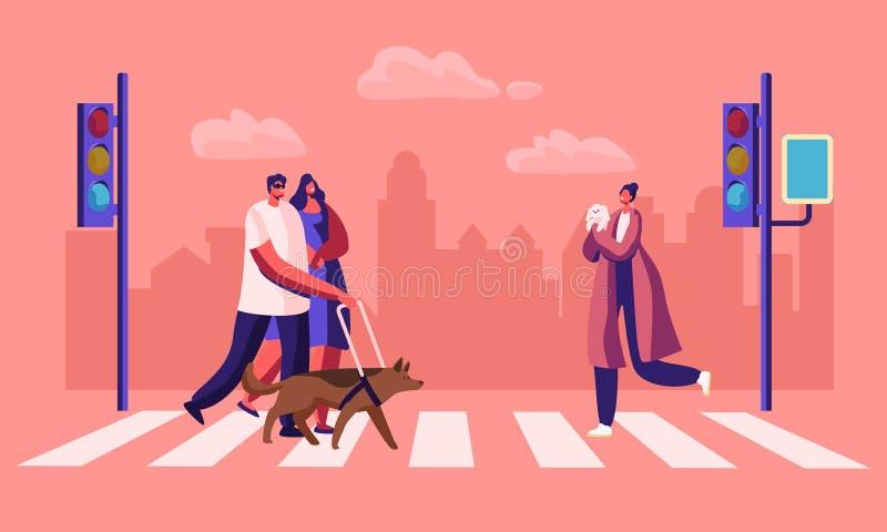 Piétons handicapés et en bonne santé avec des animaux familiers croisant l'échange de route dans la ville, l'homme aveugle marcha illustration de vecteur