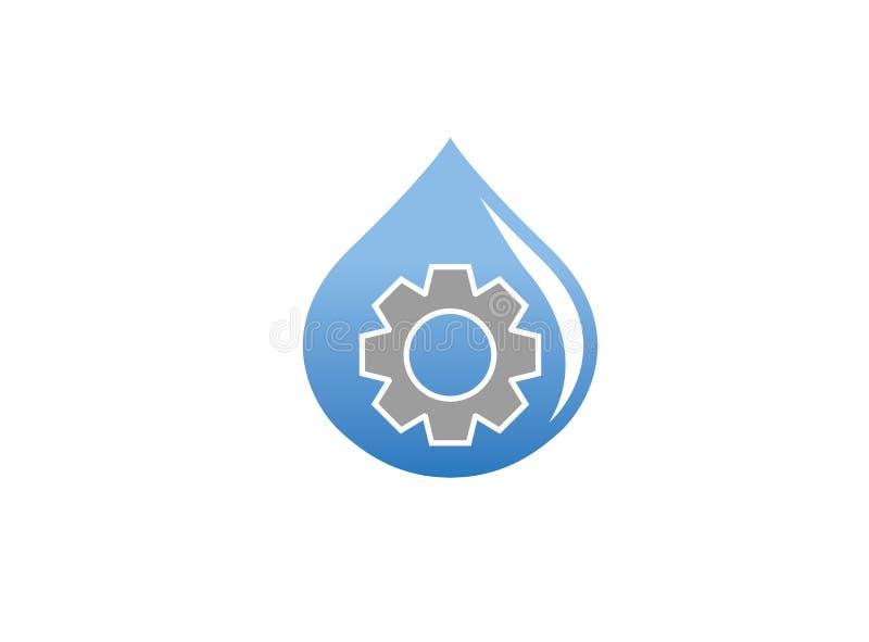Piñón/engranaje dentro de un descenso del agua para el diseño del logotipo ilustración del vector