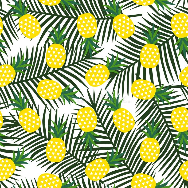 Piña amarilla con el verano geométrico de la fruta de los triángulos tropical stock de ilustración