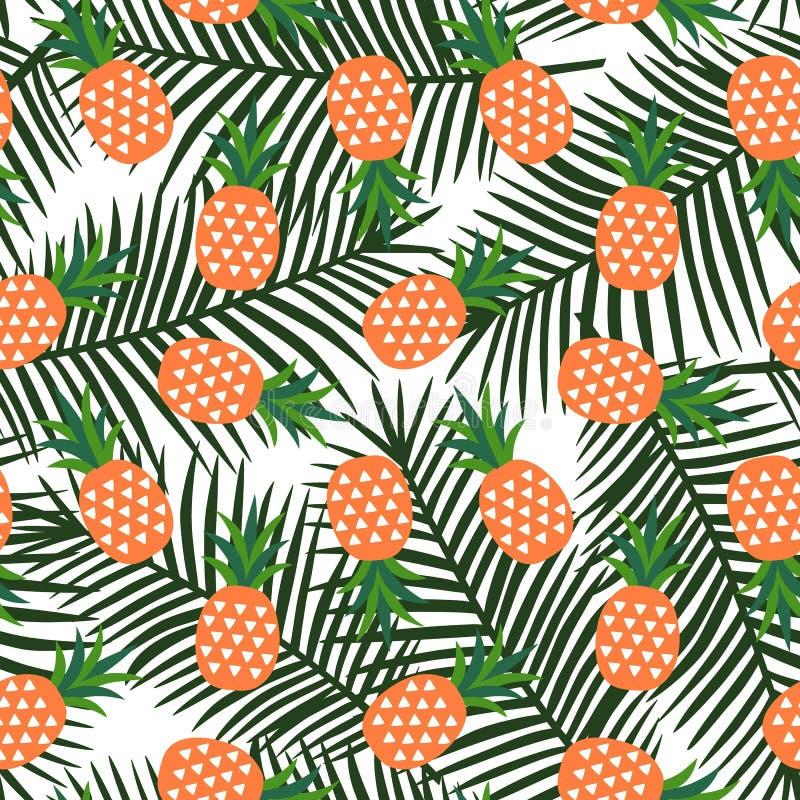 Piña anaranjada con el verano geométrico de la fruta de los triángulos tropical foto de archivo