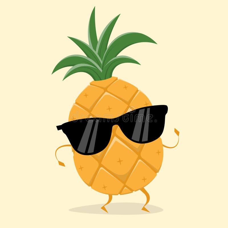 Piña divertida con las gafas de sol stock de ilustración