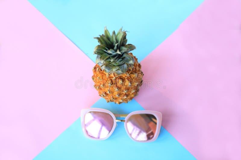 Piña en gafas de sol el concepto de vacaciones de verano fotografía de archivo libre de regalías