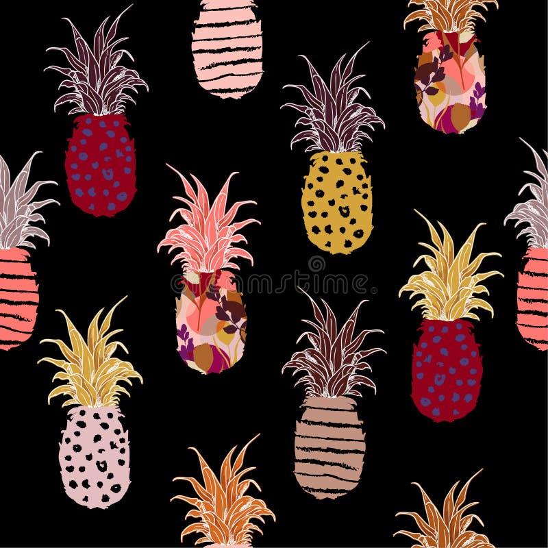 Piña exhausta de la mano colorida terraplén-en con la línea palmadita del bosquejo de la mano libre illustration