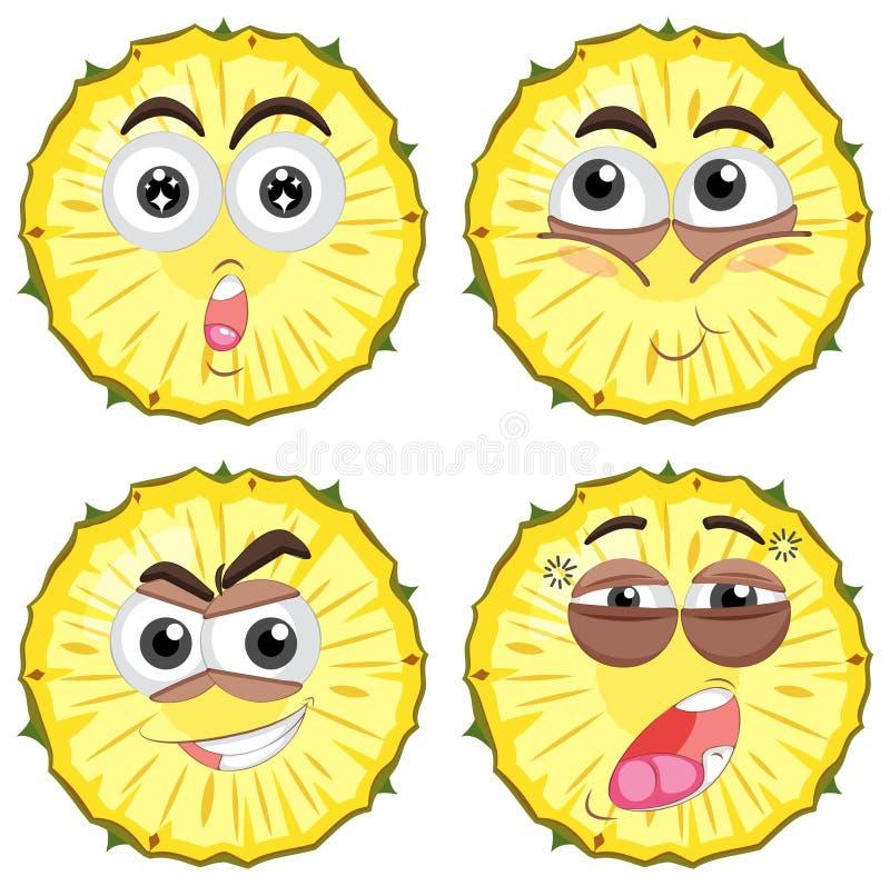 Piña fresca con diversas caras ilustración del vector