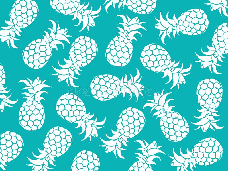 Vector tropical background of white pineapples with blue color background as vector for beach patterns and all summer. holiday ill. Ustration stock illustration