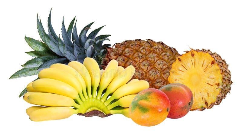 Piña, plátano y mango aislados en el fondo blanco libre illustration