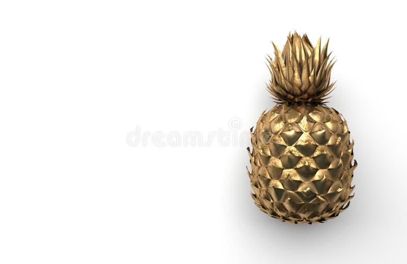 Piña sola del oro aislada en un fondo blanco con el espacio para el texto Fruta exótica tropical Front View representación 3d libre illustration