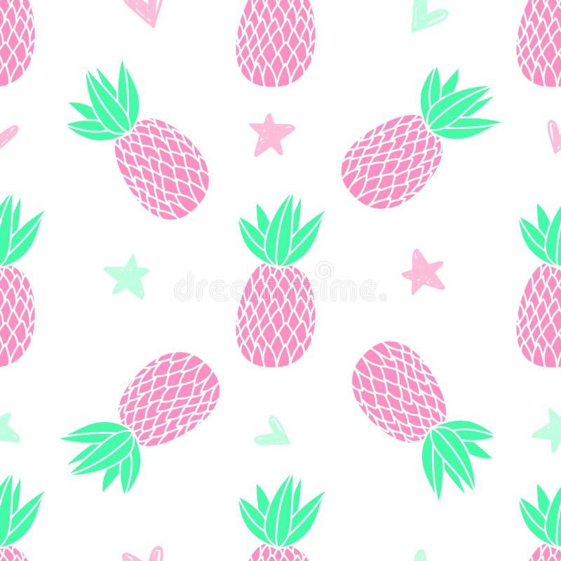 Piñas en el fondo blanco Modelo inconsútil del vector con la fruta tropical Estilo lindo de la muchacha, rosado fotos de archivo libres de regalías