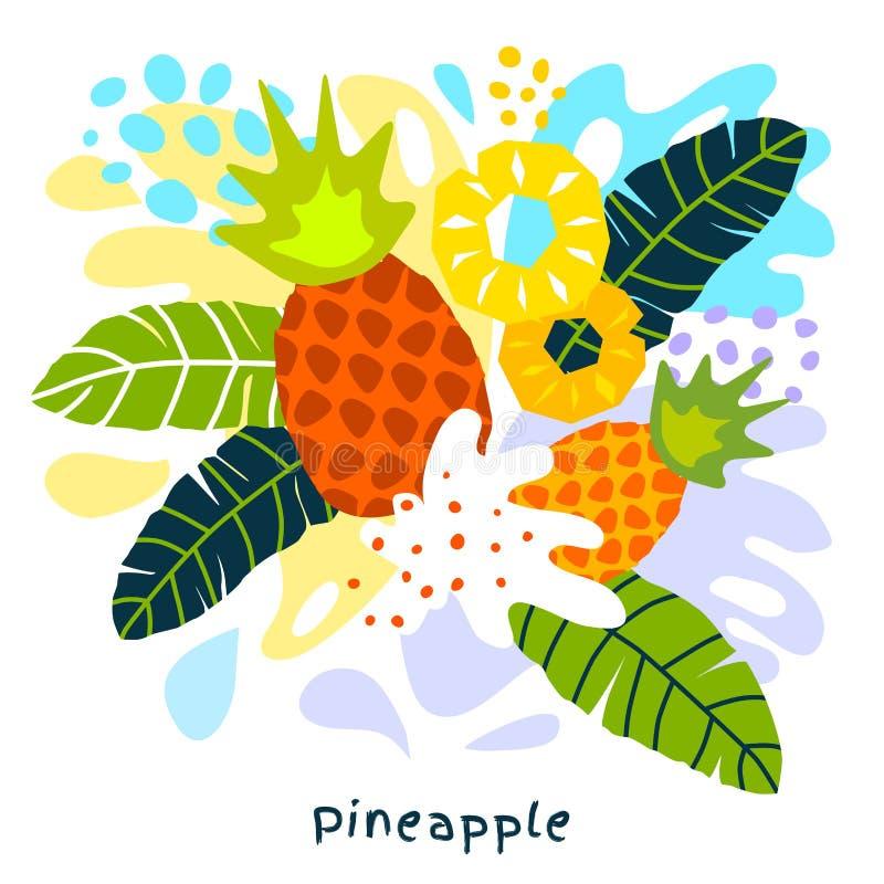 Piñas jugosas de la salpicadura de la piña de los agrios del jugo del alimento biológico exótico tropical fresco del chapoteo en  stock de ilustración