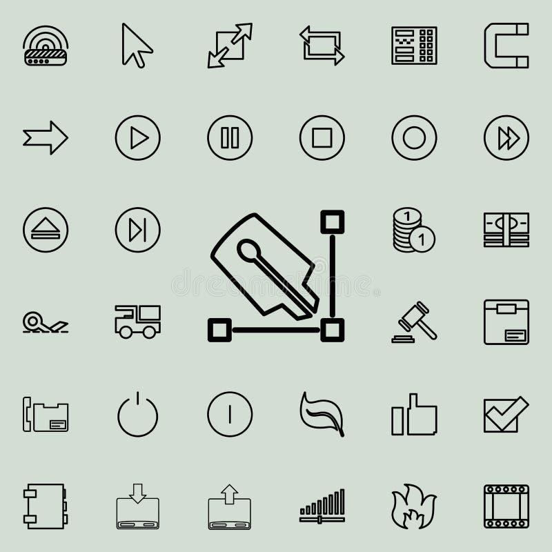 pióra i kąta konturu ikona Szczegółowy set minimalistic kreskowe ikony Premia graficzny projekt Jeden inkasowe ikony dla websi ilustracja wektor