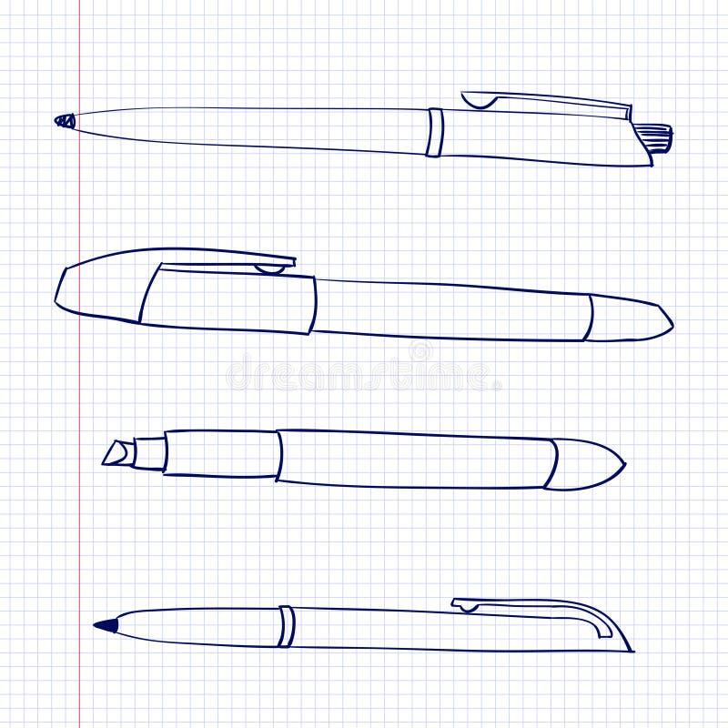 Pióra i markiery kłamają na prześcieradle papier w komórkę Stacjonarni przedmioty rysują w doodle stylu Ikony kreskówki pióra royalty ilustracja