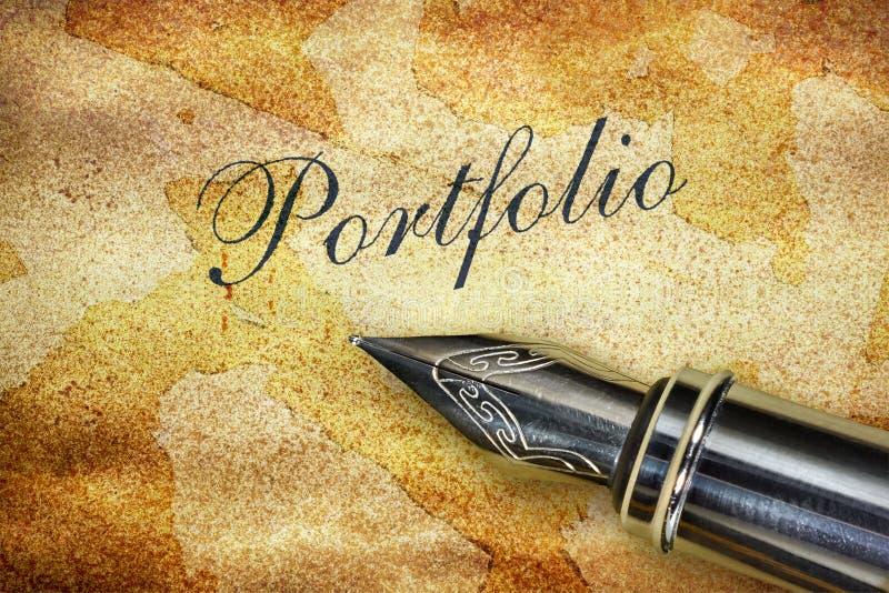 Pióra i słowa portfolio obraz royalty free