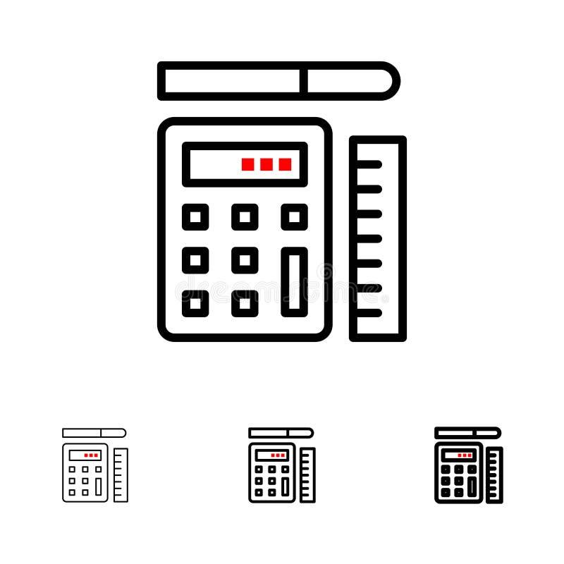Pióra, kalkulatora, skali, edukacji czerni linii ikony set, Śmiały i cienki ilustracja wektor