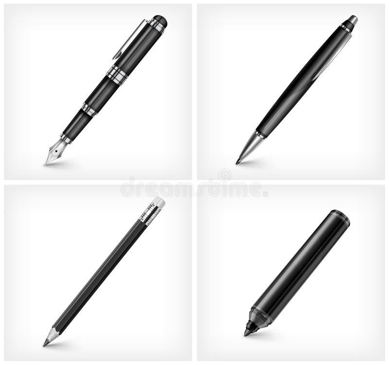 Pióra ołówka highlighter & fontanny pióro, ilustracji