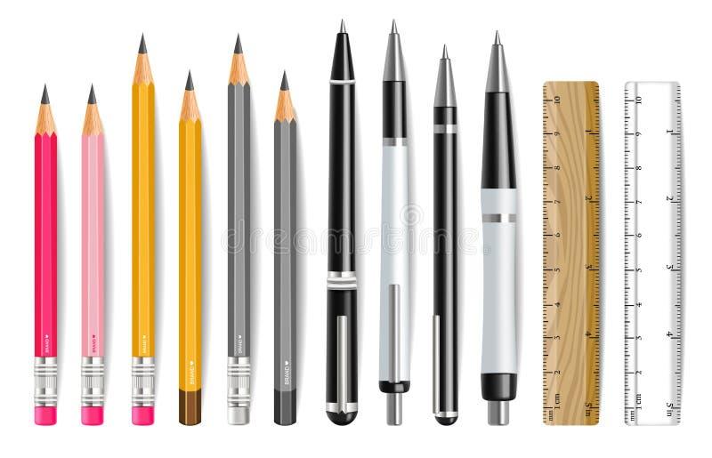 Pióra, ołówka i władcy Wektorowy realistyczny set, r ilustracji