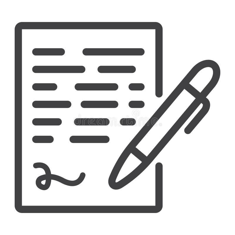 Pióra podpisywania linii ikona, biznesowy kontraktacyjny podpis ilustracja wektor