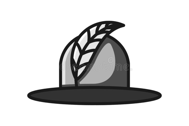 Piórka i kobiety kapelusz, piękno loga projekta inspiracja Odizolowywająca Na białych tło ilustracja wektor