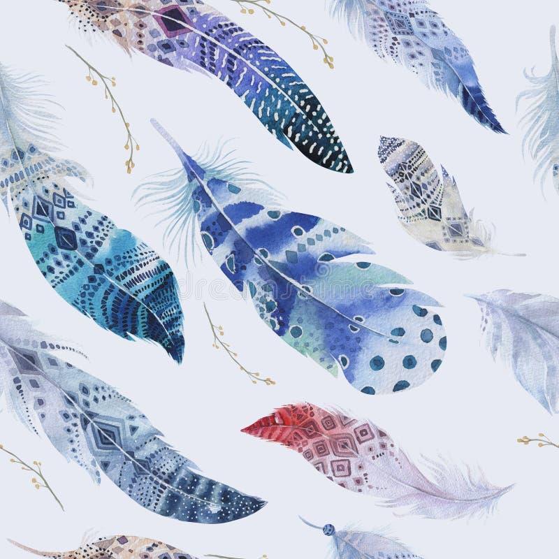 Piórko wzór Akwareli elegancki tło Watercolour col ilustracji