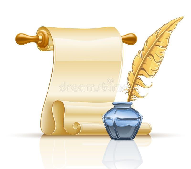 piórkowa atramentu papieru pióra garnka ślimacznica ilustracji