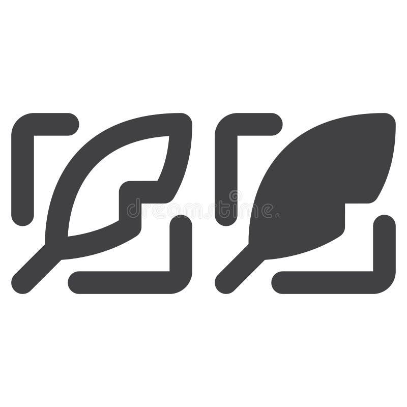 Piórkowa gęsta linia, bryły ikona, kontur i piktogram odizolowywający na bielu, wypełniający wektoru znaka, liniowego i pełnego, ilustracja wektor