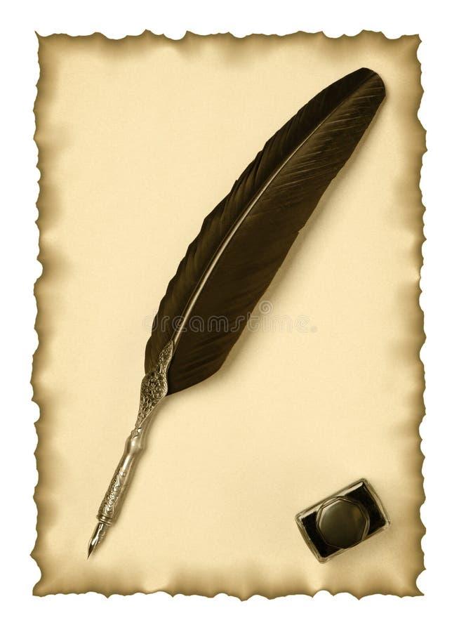 piórkowego inkwell stara papierowa dutka zdjęcia stock
