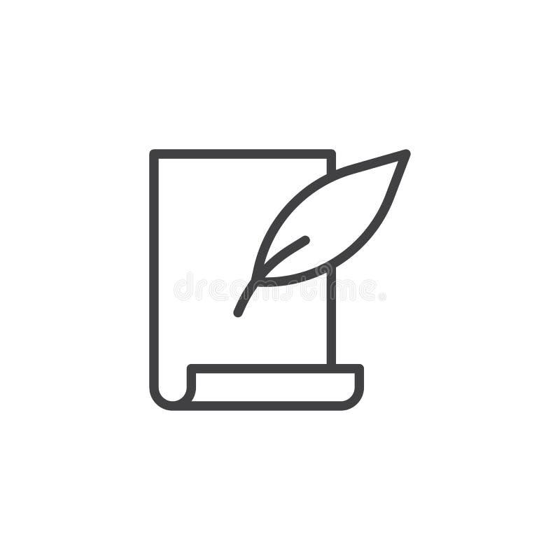 Piórkowy pióra i ślimacznicy papieru prześcieradło wykłada ikonę ilustracja wektor