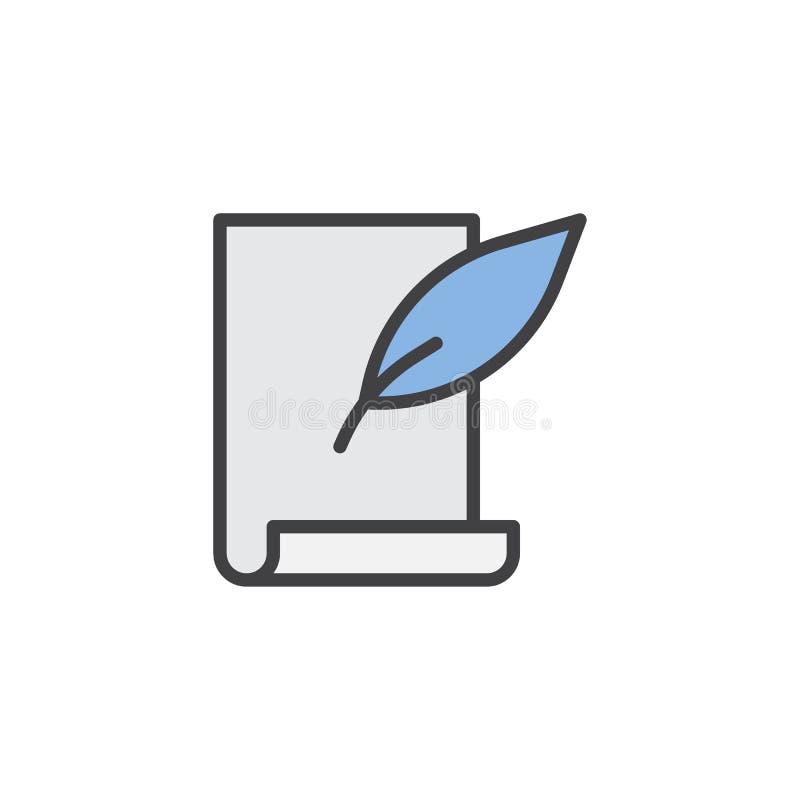 Piórkowy pióra i ślimacznicy papieru prześcieradło wypełniający zarysowywa ikonę ilustracja wektor