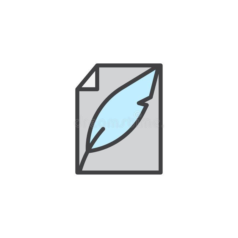 Piórkowy pióra i papieru prześcieradło wypełniający zarysowywa ikonę ilustracji