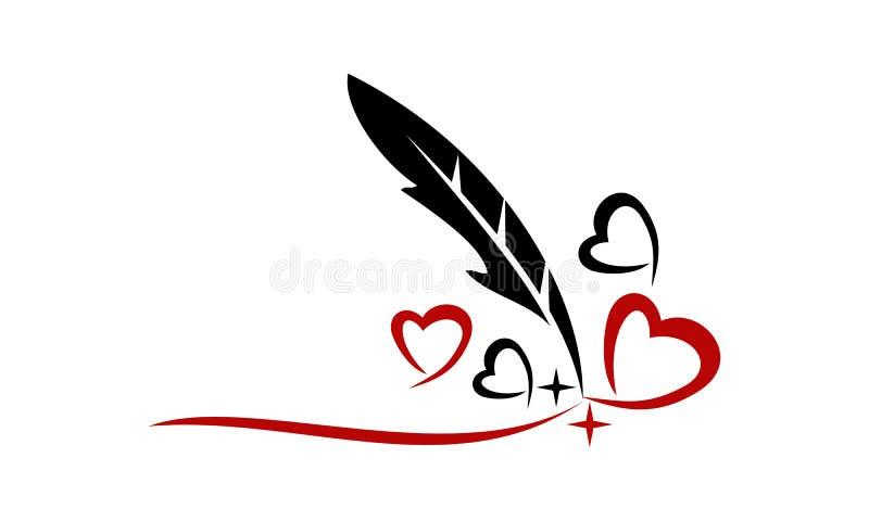 Piórkowy pióro i serce ilustracji