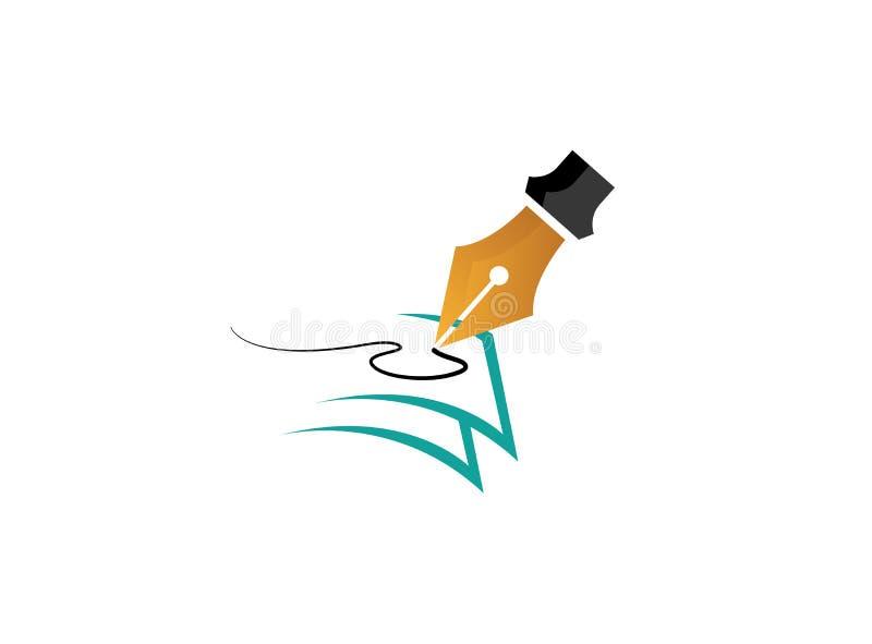 Piórkowy pióro pisze na papierach dla logo ilustracja wektor