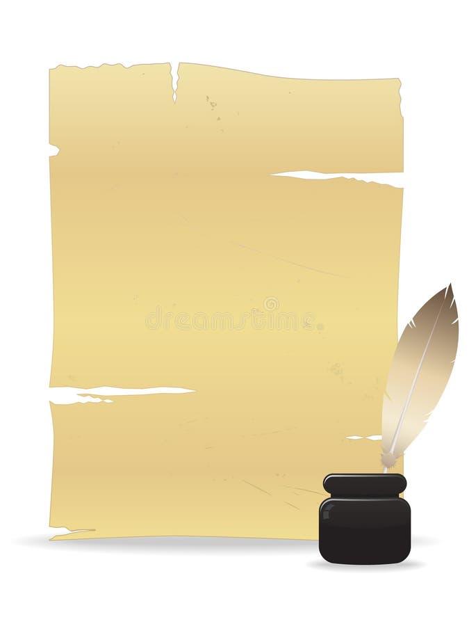 piórkowy stary papierowy pióro royalty ilustracja