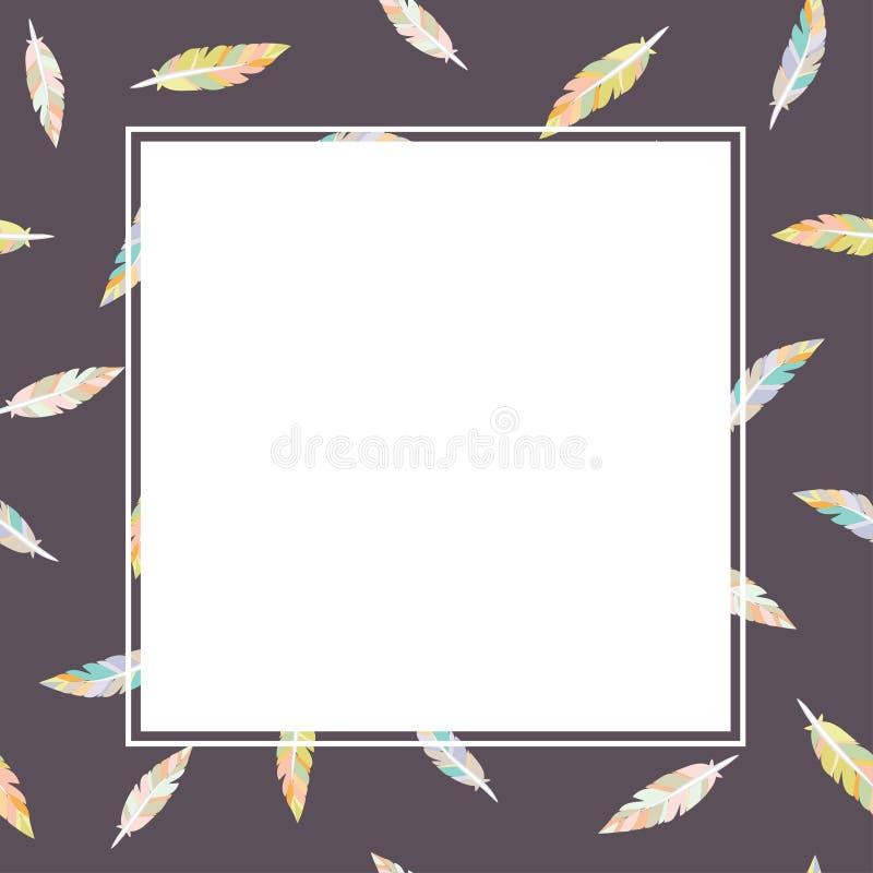 Piórkowy wzór na ciemnym tle z białą tekst przestrzeni ramą - mieszkanie stylowa prosta ilustracja royalty ilustracja