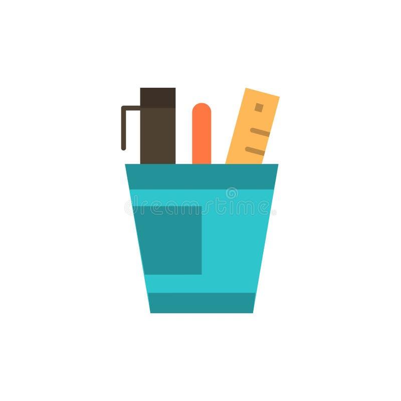 Pióro, biurko, biuro, organizator, dostawy, dostawa, narzędzie koloru Płaska ikona Wektorowy ikona sztandaru szablon ilustracji