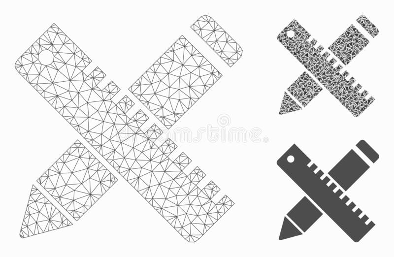 Pióro i władca projekt narzędzi siatki sieci trójboka i modela mozaiki Wektorowa ikona ilustracji