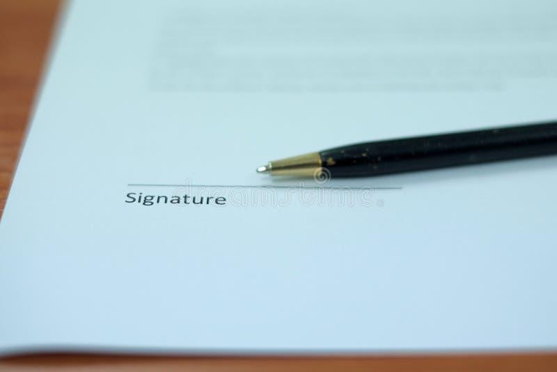 Pióro na podpis linii fotografia stock