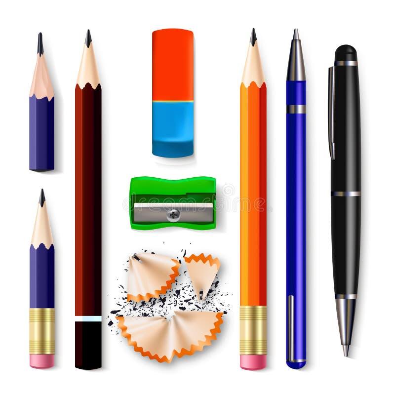 Pióro, Ołówkowego materiały Ustalony wektor ostrzenie Klasyczna guma, grafit Drewna, klingerytu I metalu narzędzia Akcesoryjni, ilustracja wektor