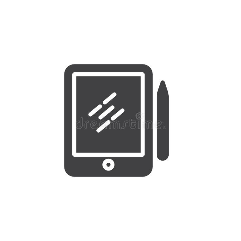 Pióro pastylki digitizer wektoru Rysunkowa ikona ilustracja wektor