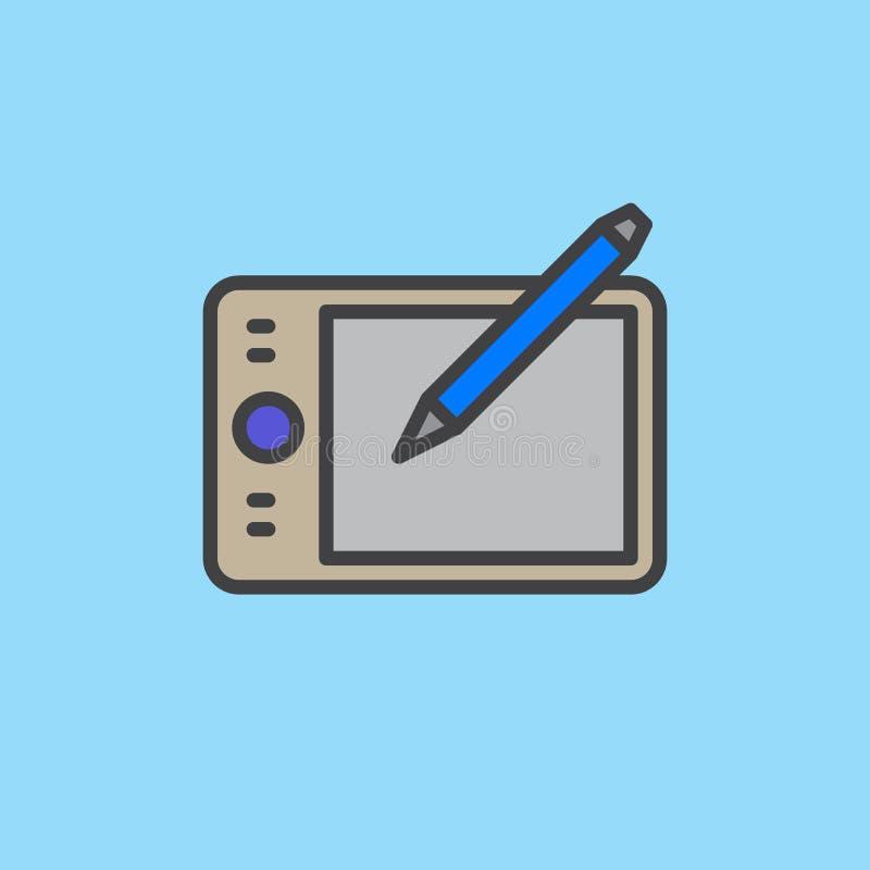 Pióro pastylki konturu digitizer wypełniająca ikona royalty ilustracja
