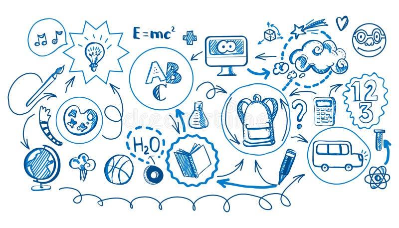 Pióro rysujący Z powrotem szkoła infographic ilustracji
