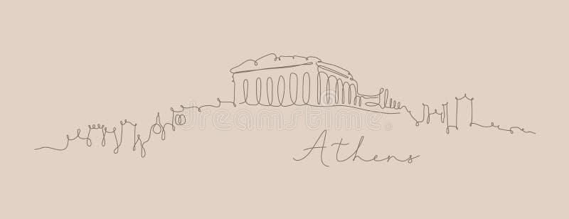 Pióro sylwetki Athens kreskowy beż royalty ilustracja
