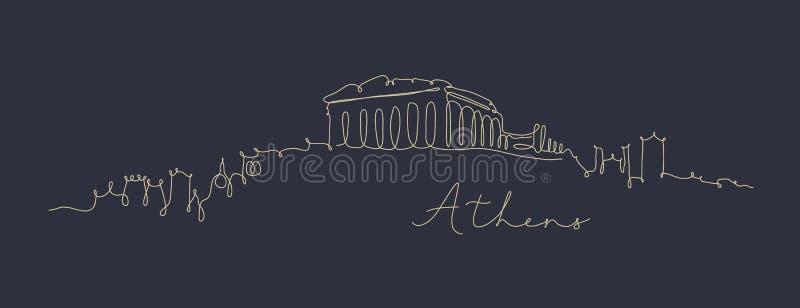 Pióro sylwetki Athens kreskowy zmrok - błękit royalty ilustracja