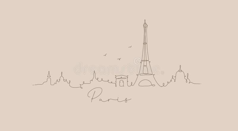 Pióro sylwetki Paris kreskowy beż ilustracja wektor