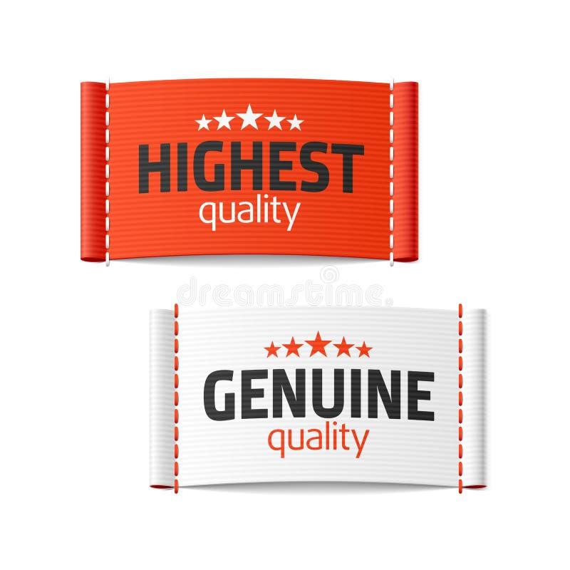 Più alte ed etichette genuine dell'abbigliamento di qualità royalty illustrazione gratis