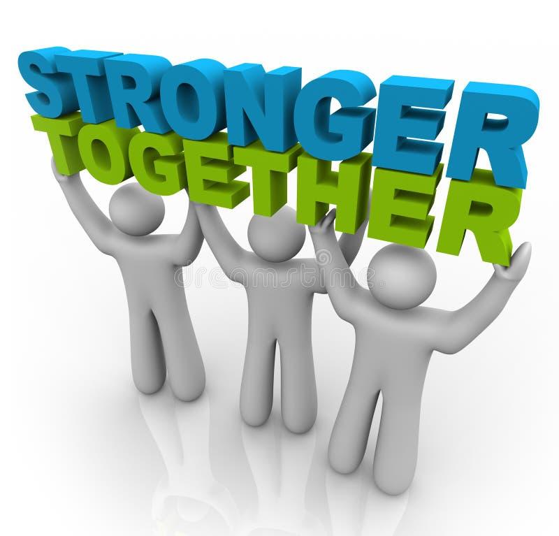 Più forte insieme - sollevamento delle parole illustrazione di stock