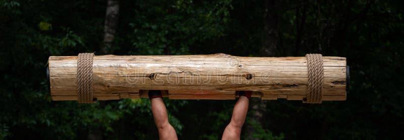 Più forte uomo nella concorrenza del mondo Mani muscolari che alzano tronco di legno pesante Ceppo di legno di sollevamento dell' fotografie stock