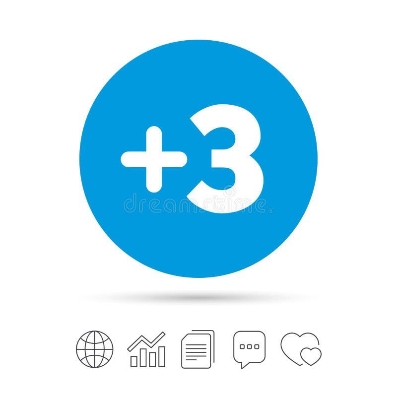 Più il segno tre Aggiunga il simbolo tre illustrazione di stock