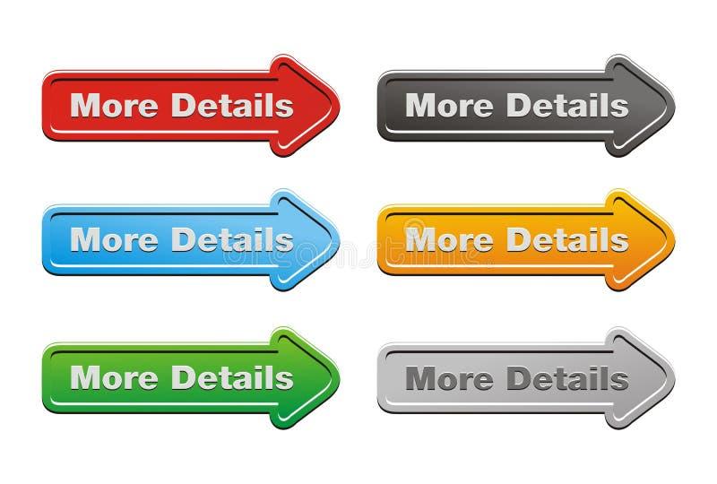 Più insiemi del bottone dei dettagli - bottoni della freccia illustrazione di stock