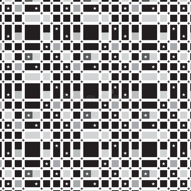 Più nero sulla linea di griglia bianca bla bianco dell'argento della stella del modello illustrazione di stock