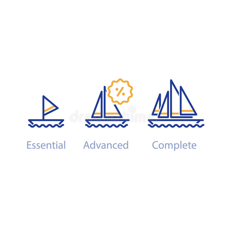 Più piccolo, più grande confronto delle barche, concetto con le navi, migliore opzione di aggiornamento illustrazione vettoriale